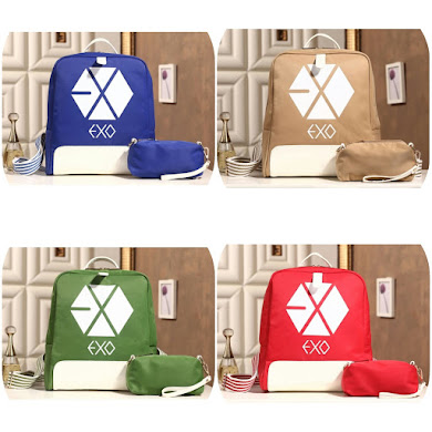 K-POP EXO SERIES BACKPACK ( 2 IN 1 SET ) - BLUE , KHAKI , GREEN , RED