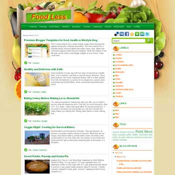 Food Less blogger template. template cooking and recipes for blogger