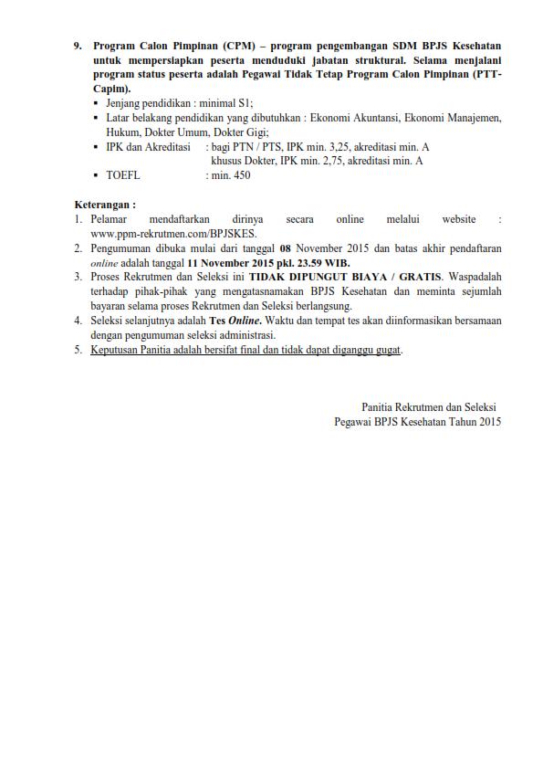 rekrutmen bpjs kesehatan 2015