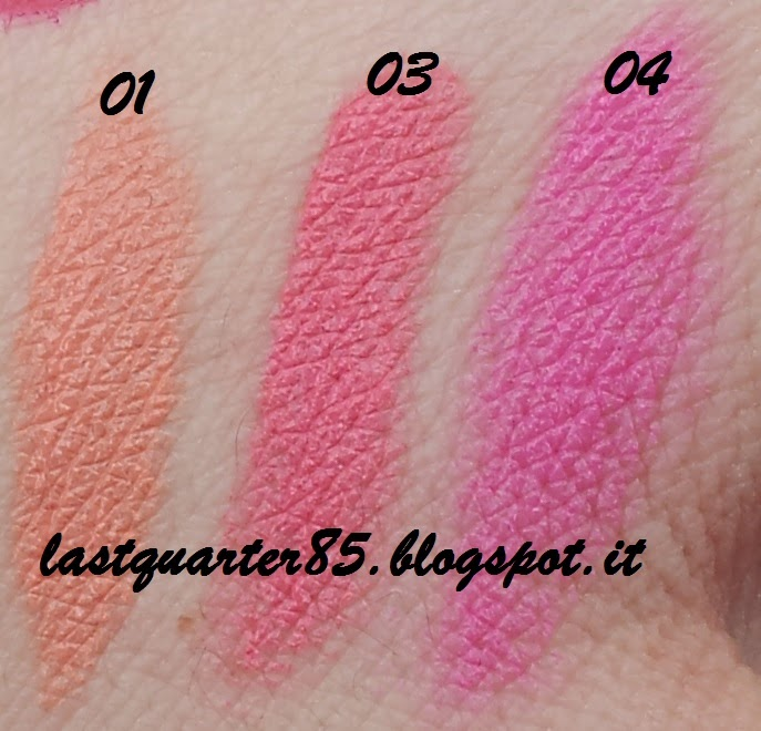 Kiko Sportproof Active Colours: Cheeky Colour Creamy Blush, da sinistra a destra 01 Pesca, 03 Rosa Fragola e 04 Rosa Shocking.
