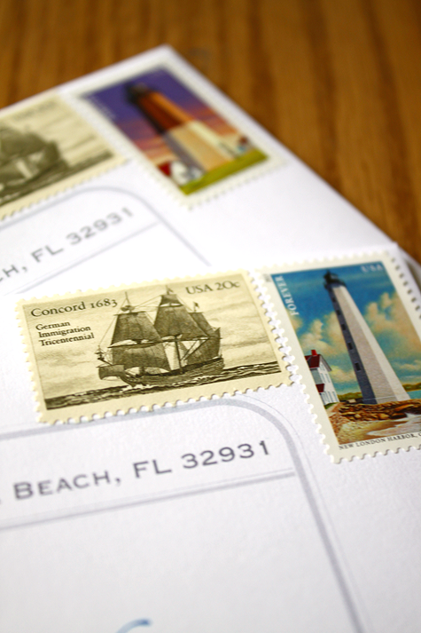 Nautical wedding postage - lighthouse and ship