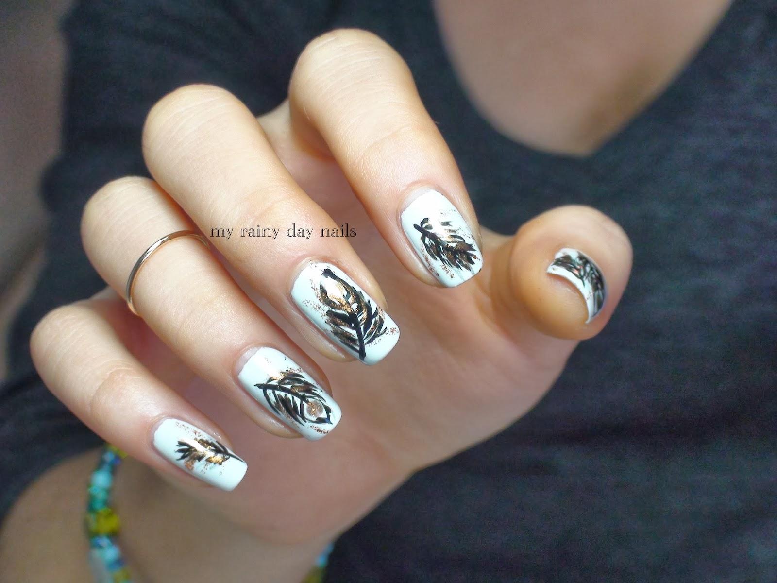 My Rainy Day Nails: Feather Nail Art