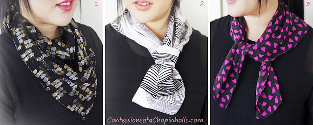 giveaway, scarf giveaway, marc for marc jacob heart print scarf, tory burch metallic print scarf, Lisa Ho white and black print scarf, freebie