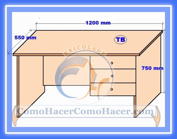 Plano de escritorio web del bricolaje dise o diy for Medidas de muebles para planos