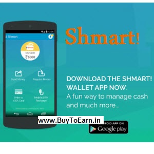 Shmart Wallet : Recharge & Bill Payment Get Rs. 50 Cashback on Rs. 100 For 4th Dec.new user : BuyToEarn