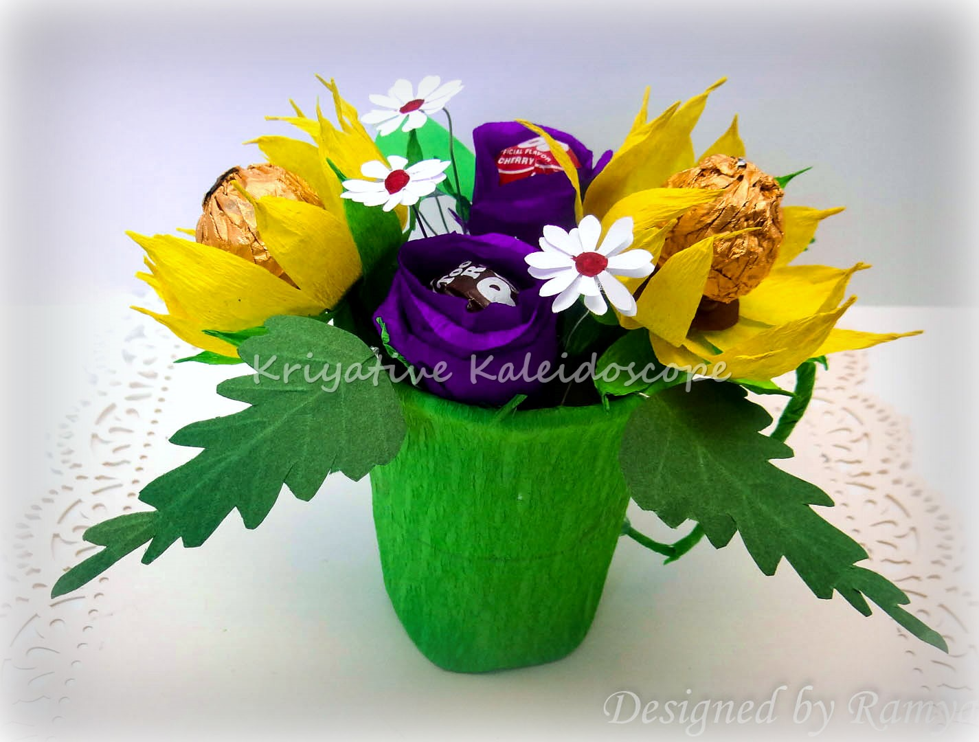 Kriya tive kaleidoscope chocolate flower bouquet i made all the flowers using crepe papers which i had previously got from india actually there are izmirmasajfo