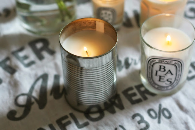 Homemade candles tin can