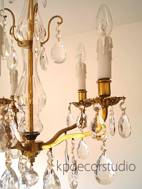 Lámparas chandelier con lágrimas y velas. Tienda online de lamparas antiguas en valencia restauradas listas para colocar