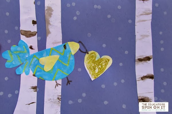 Valentine Card Idea with Winter Birds from The Educators' Spin On It