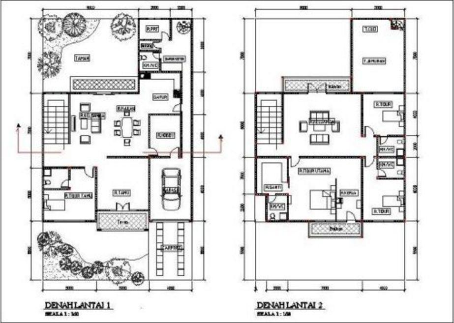 gambar denah minimalis modern 2 lantai terbaru