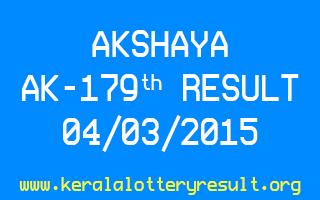 AKSHAYA AK 179 Lottery Result 4-3-2015
