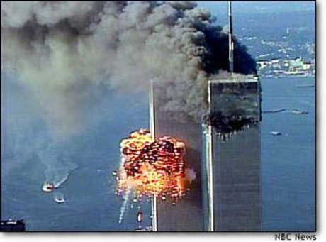 burning world trade centers