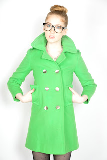 Vintage 1960's kelly green wool princess peacoat with gold buttons.