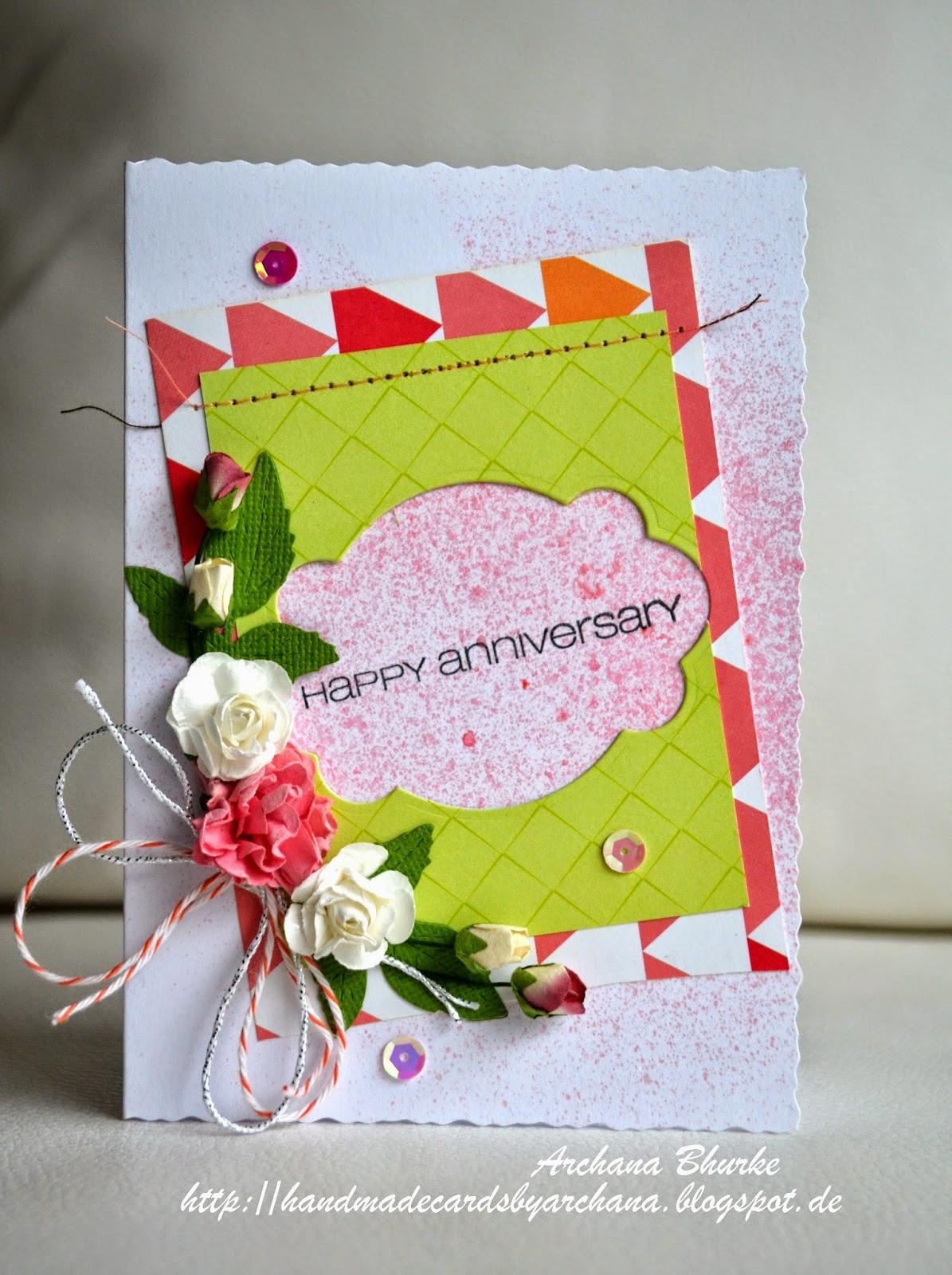 Handmade Cards By Archana Happy Anniversary