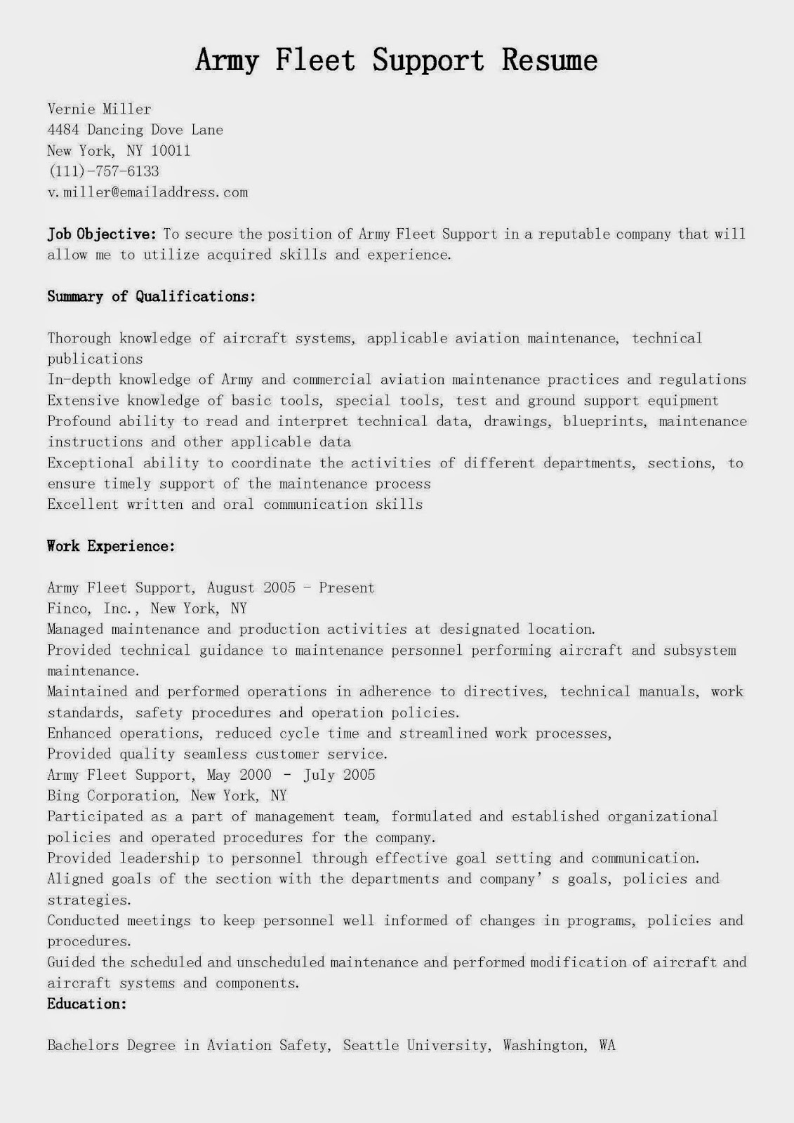 resume samples  army fleet support resume sample