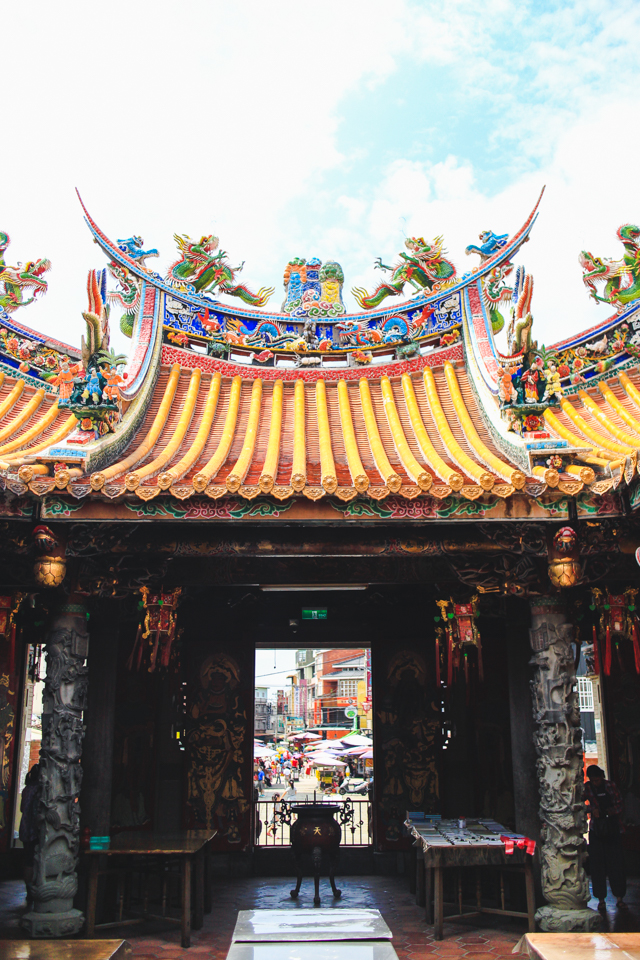a colorful view from the temple courtyard   Beipu, Taiwan