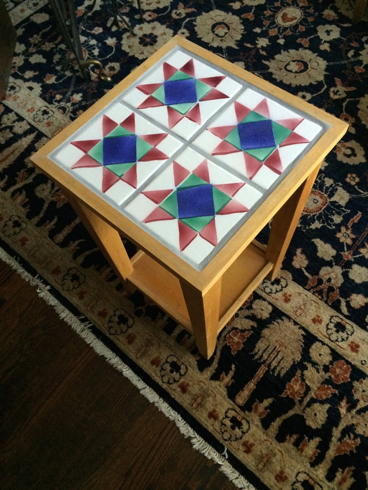 Amish star quilt pattern tile end table architectural ceramics amish star quilt pattern tile end table dailygadgetfo Images