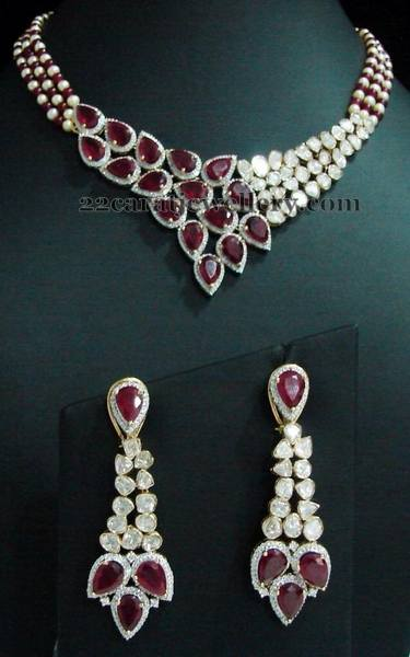 Three Rows Diamond Ruby Polki Choker