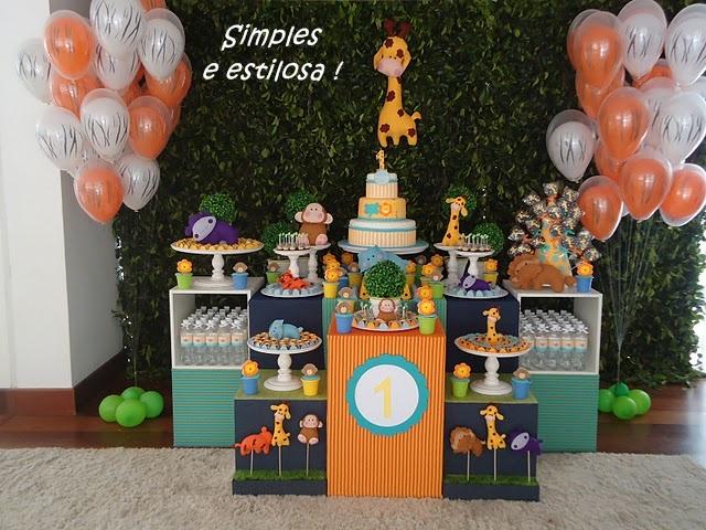 festa aniversario infantil jardim zoologico: me chamou atenção nessa festa é o estilo simples da decoração