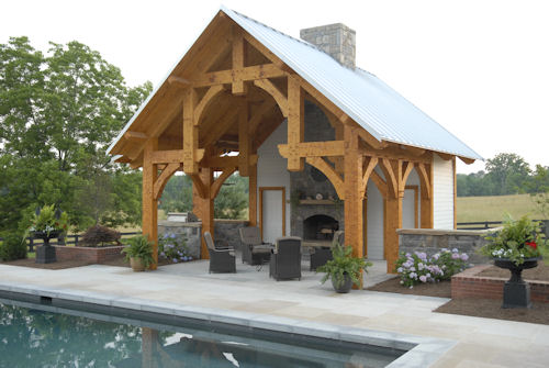 finished pool house 500x335 Pool House Plans