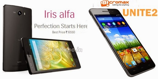 Compare Lava Iris alfa with MICROMAX UNITE 2 - Specs and Price
