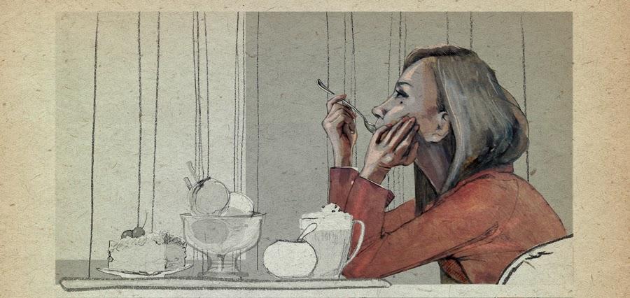 urbaniak kobieta deser ilustracja urbaniak ilustracja kawa  deser kobieta woman eaat dessert