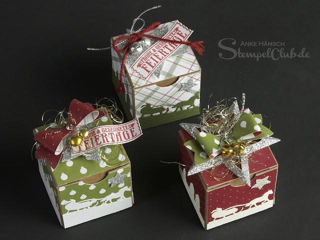 stampin up, Geschenkschachteln, Weihnachten, Schlittenfahrt, Schleifenstanze