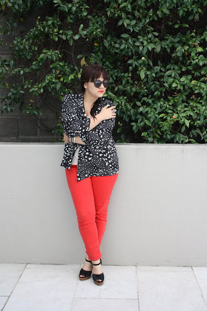 Kimono & Red Jeans - Daily Outfit 061611