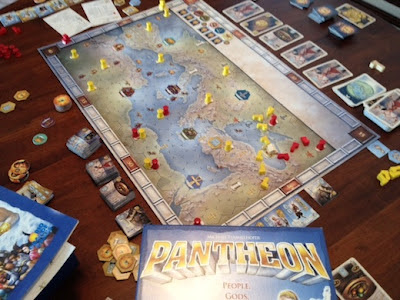 Pantheon board game in play