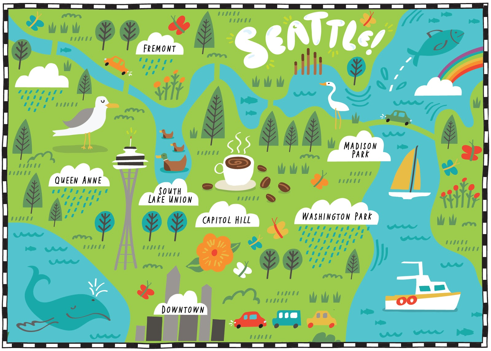 I Draw Maps Illustrated Map Of Seattle For The Wall Street Journal