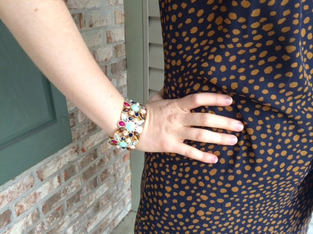 Statement Bracelet with Polka Dot Top