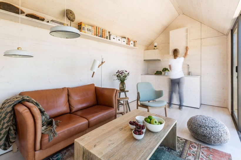 Living room area in a portable home