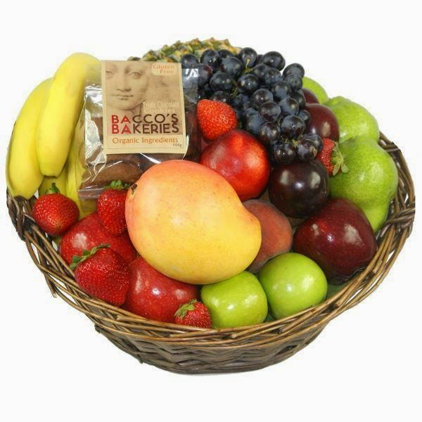 Fresh fruit basket with real woicker basket - for mother's Day