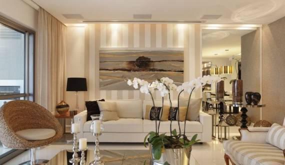 Sala De Estar Bege ~ Construindo Minha Casa Clean Salas Modernas com Papel de Parede! Veja