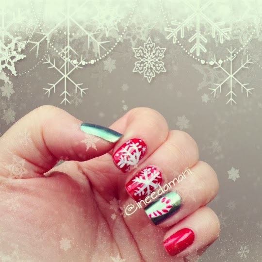 snowflakes candy cane christmas holiday winter festive nail art