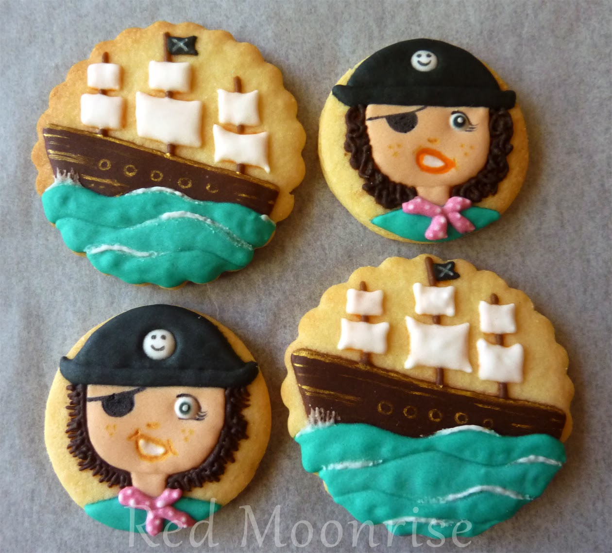 Pirate Girl and Ship Cookies