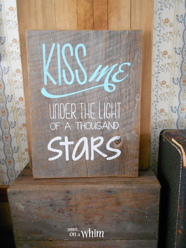 Reclaimed Wood Sign with Love Song Lyrics from Denise on a Whim