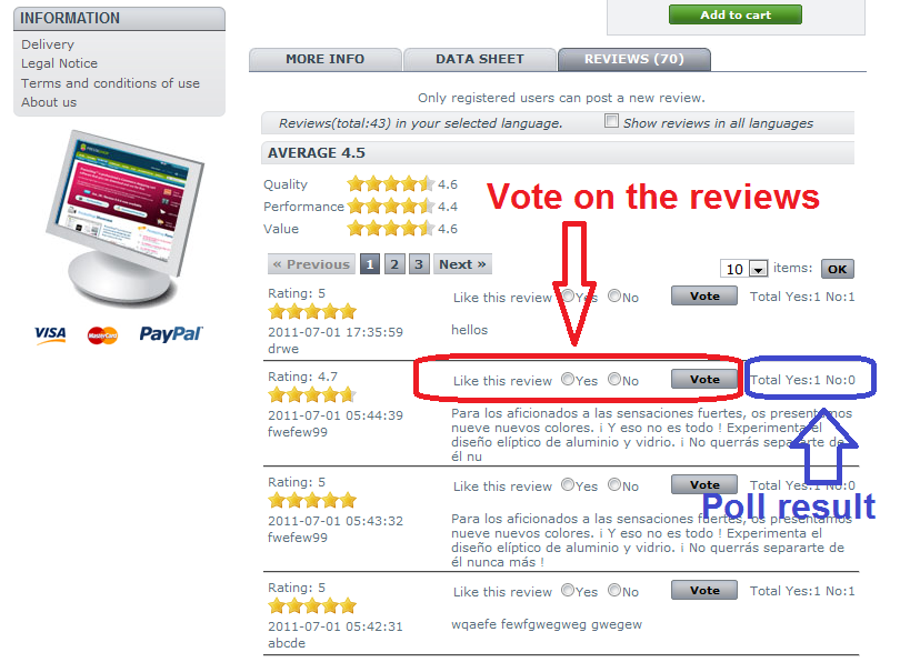 Agile product review module - voting on review feature