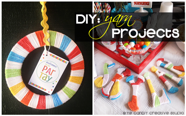 yarn projects, yarn wrapped letters, yarn wrapped wreath, rainbow party