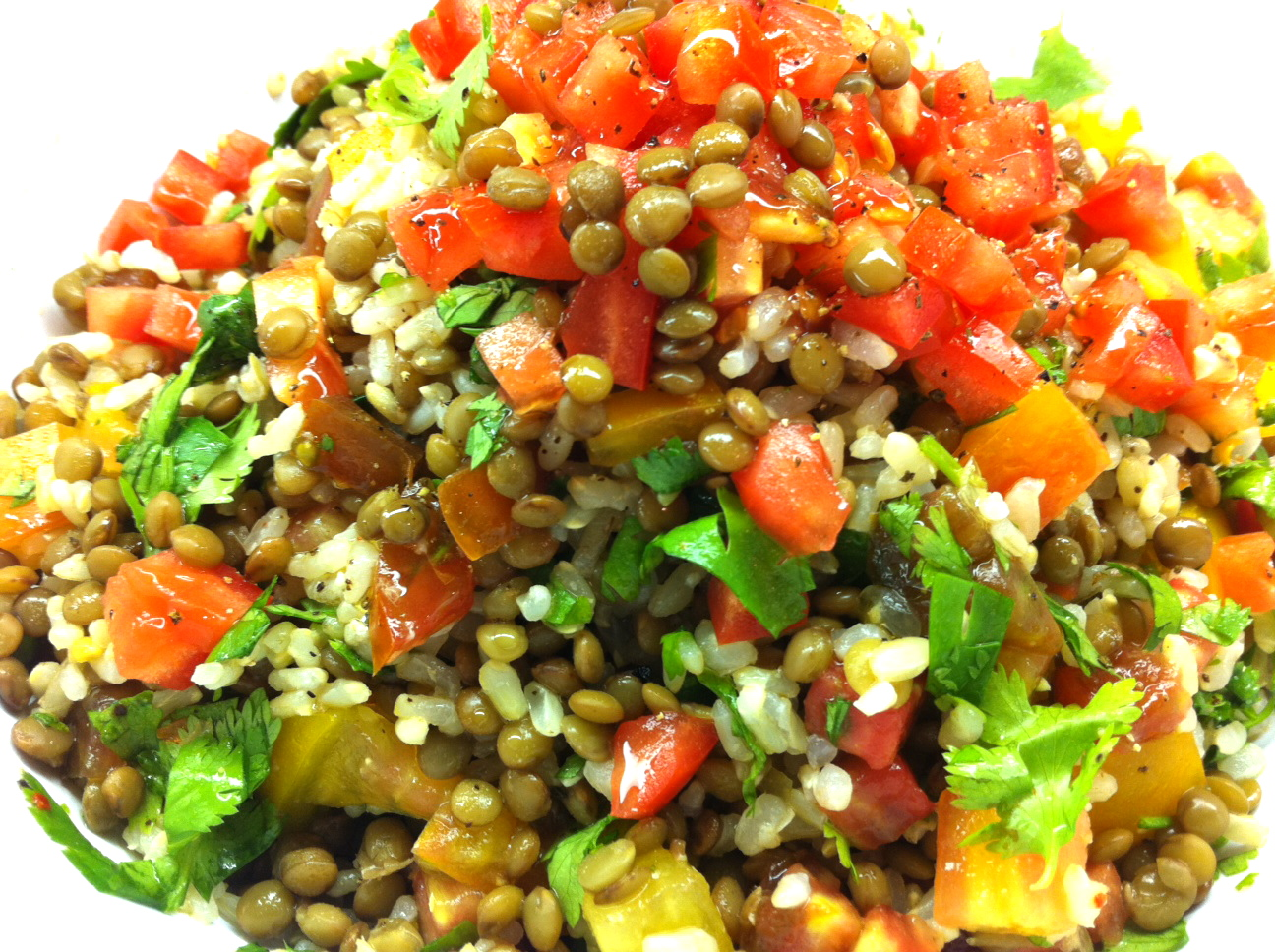 Lentil Salad With Tomato And Dill Recipe — Dishmaps