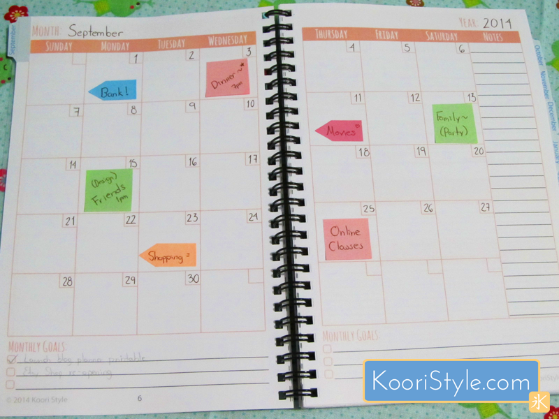 Cute Simple Printable PDF Monthly Weekly Blog Planner Agenda Blogging PDF Downlad Koori Style