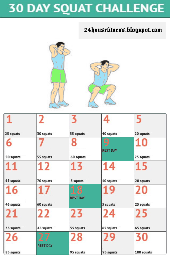 Mountain Climber 30 Day Challenge 30 Day Squat Challenge