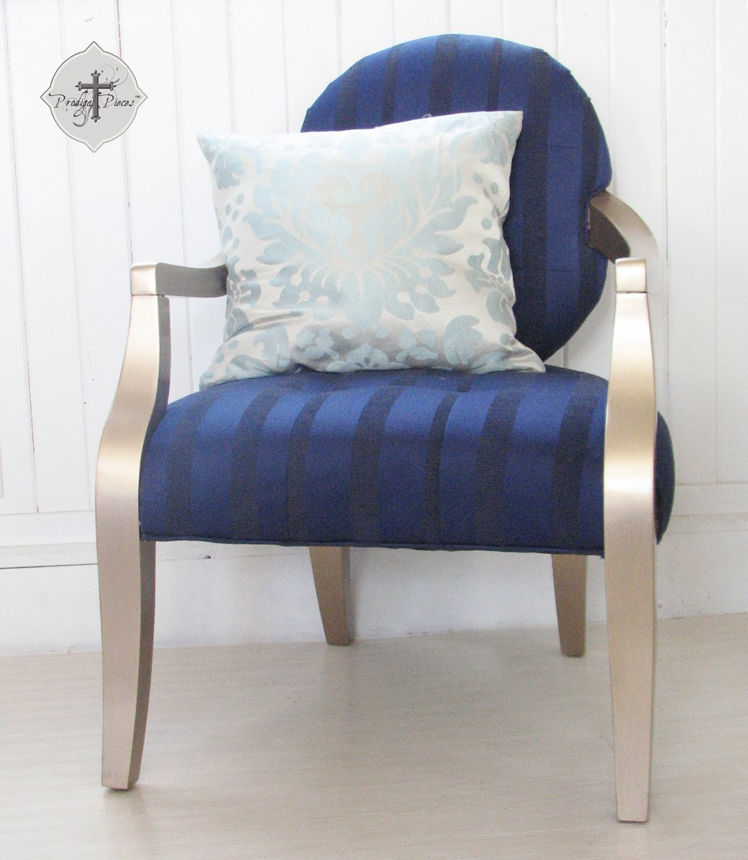 Stunning Gold & Royal Blue Upholstered Accent Chair via Prodigal Pieces