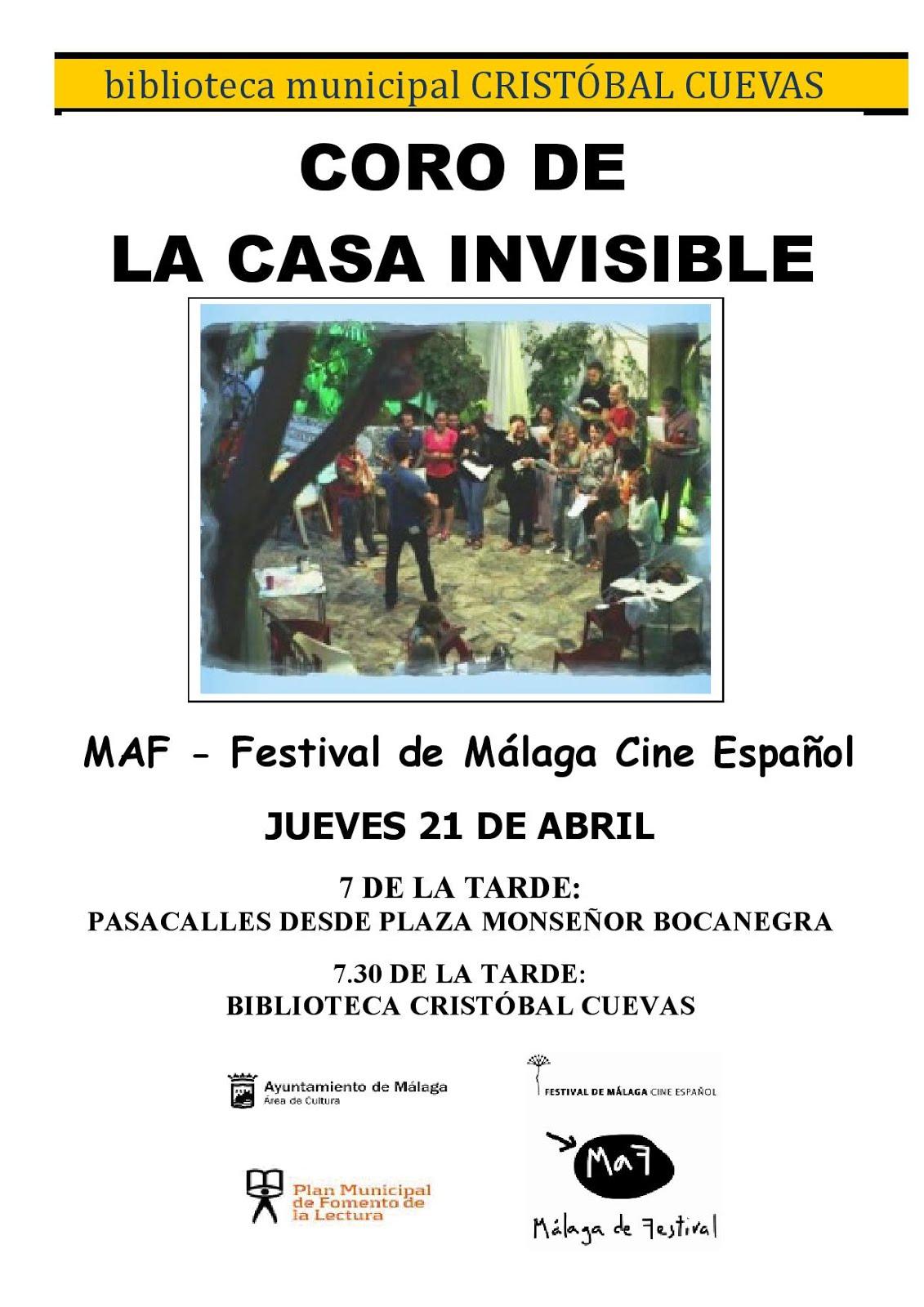 """MaF2016 Festival de Málaga en Bibliotecas.El Coro de la Casa Invisible se """"viste de cine""""."""