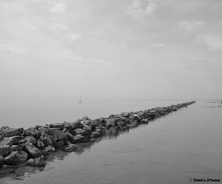 A line of piled rocks extends far into the Toronto waters, appearing to go on forever.