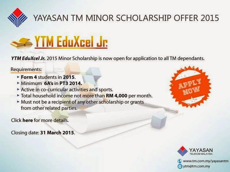 Yayasan Telekom Malaysia Scholarship Offer: TM EduXcel Jr. 2015