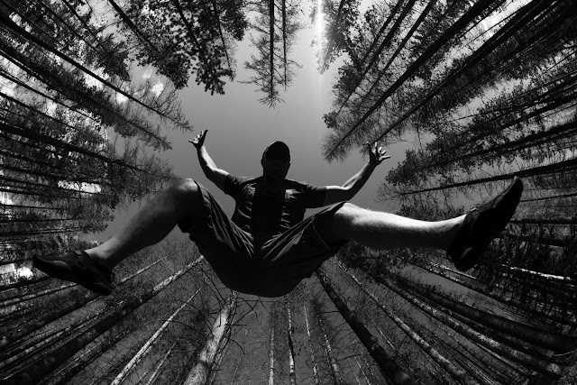 A guy falling from the sky during some forest hiking in Rocky Mountain National Park.