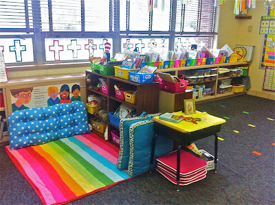 Brightly colored kindergarten classroom library