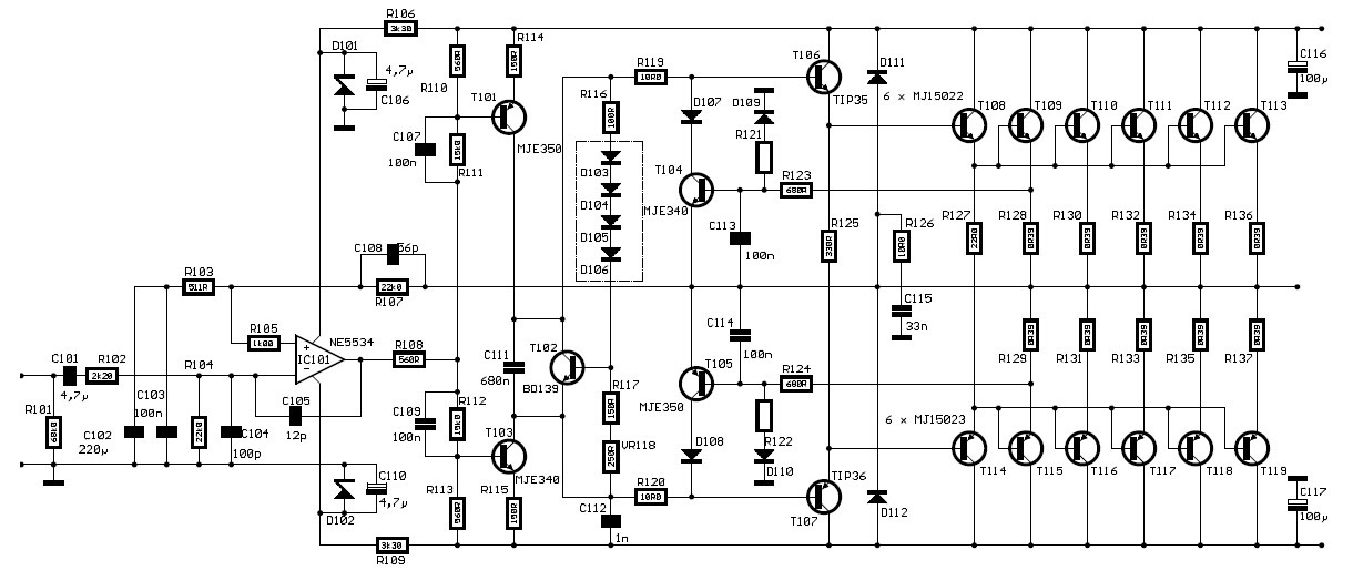 Attached is the schematic of a PA or subwoofer power amplifier capable