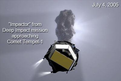 Impactor deployed from Deep Impact mission to collide with Tempel-1. Artist impression. NASA, 2005.